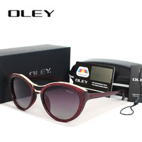 OLEY New Fashion Cat Eye Sunglasses Women Vintage Gradient Polarized Sun Glasses Driving UV400 Aluminium Eyewear