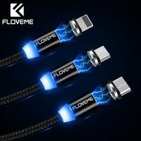 FLOVEME 360 градусов 3 в 1 Магнитный кабель для iPhone X 8 освещение Micro usb type-светодио дный C светодиодный нейлоновый плетеный провод магнитное зарядно...