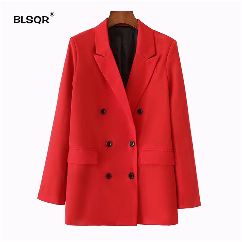 BLSQR Women Red Suit Blazer 2018 Spring Fashion Jacket Double Breasted Pocket Women Blazers Jackets Work Office Business Suit