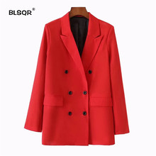 BLSQR Women Red Suit Blazer 2018 Spring Fashion Jacket Doubl