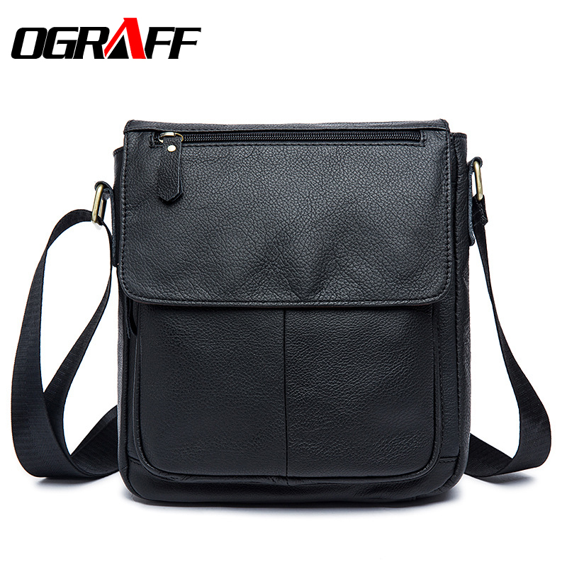 OGRAFF Men messenger bag men genuine leather bags famous designer man crossbody bags 2017 briefcases leather