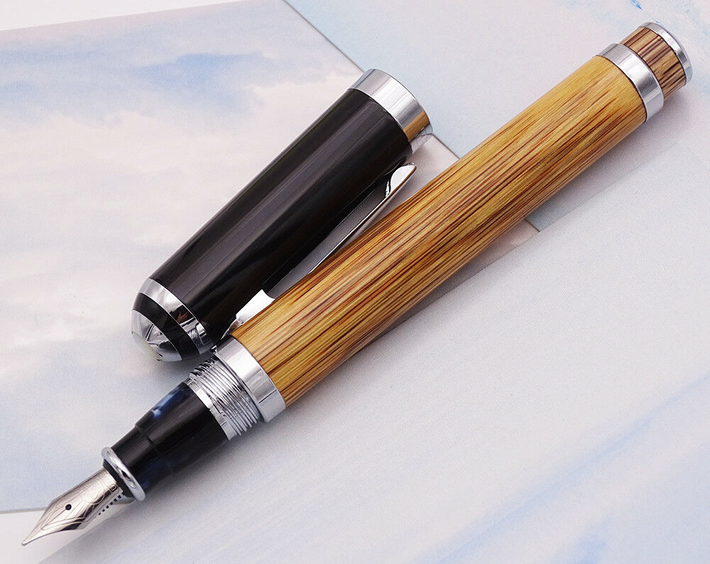 Image 4 - Duke 552 Executive Fountain Pen Natural Golden Stripe Bamboo Medium Nib Advanced Chrome Plating for Office Business School Gift-in Fountain Pens from Office & School Supplies