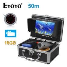 EYOYO Original 7″Full Silver Video Fish Finder 1000TVL 50M Underwater Fishing Camera Infrared Video Recording DVR 16GB Fish Cam