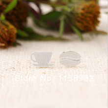 Fashion Silver plated Coffee Cup and Bean Stud Earrings