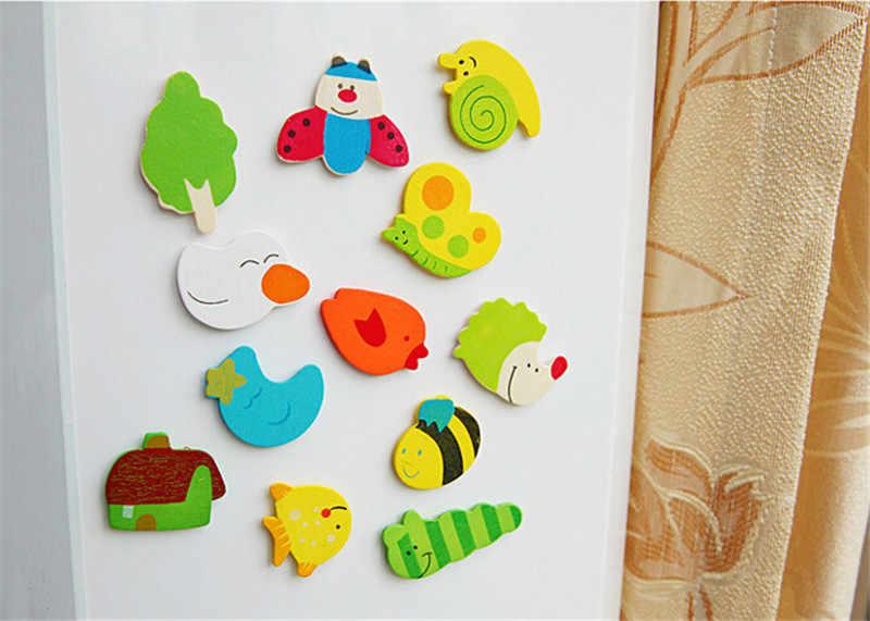 12Pcs Set Baby Kids Wooden Cartoon Animal Cute Fridge Magnet Eco Child Educational Toys Refrigerator Magnets Gift Ideas