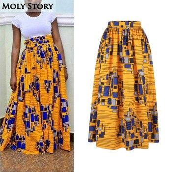 Elegante Falda larga plisada Vintage Africana impresión falda étnica Maxi  alta cintura faldas Jupe Longue Mujer e78549f8103c