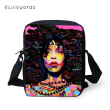 ELVISWORDS Black Art Afro Printing African Girls Women Messenger Bag Crossbody for Purse Small Phone Coin Bags Handbag
