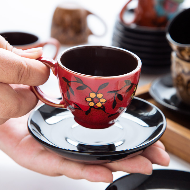 90ml Espresso Coffee Cup Saucer Set Creative Hand-painted Trumpet Small Capacity Mini Latte Coffee Cup Household Coffeeware Set