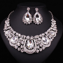 Indian Designed Jewellery with Crystal Necklace and Earrings on