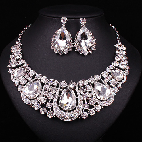 Crystal Necklace Earrings Bridal Fine Jewelry Set