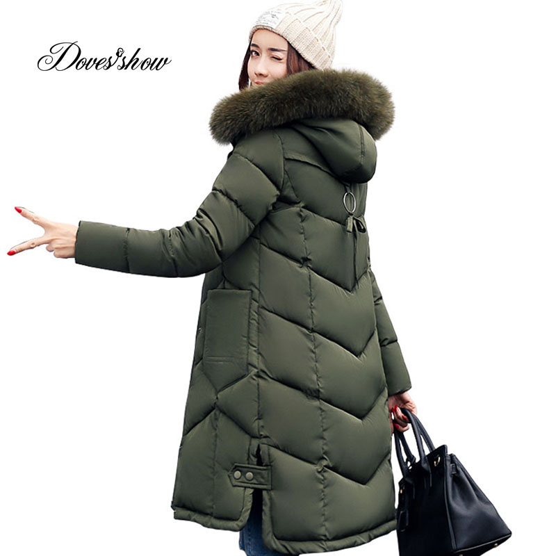 Long Women Winter Jacket Women Fashion Padded Coat Hooded Fur Collar Overcoat Women Parka Wadded Casaco Feminino Female Jacket