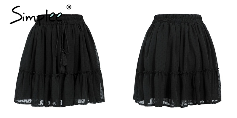 Simplee Casual polka dot mini women skirt High waist A line korean tassel pink summer skirt Sexy ruffle beach female skirts 19 21