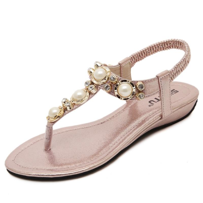 2017 Brand New Summer Flat Sandals Summer Rhinestone Crystal Pearl Bohemia Beach Flip Flops Women Shoes Zapatos Mujer Sandalias