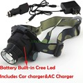 Super CREE LED 2000LM LED Zoomable 3-mode Headlamp Headlight Head Light Lamp Built-in Battery + Car Charger + AC Charger