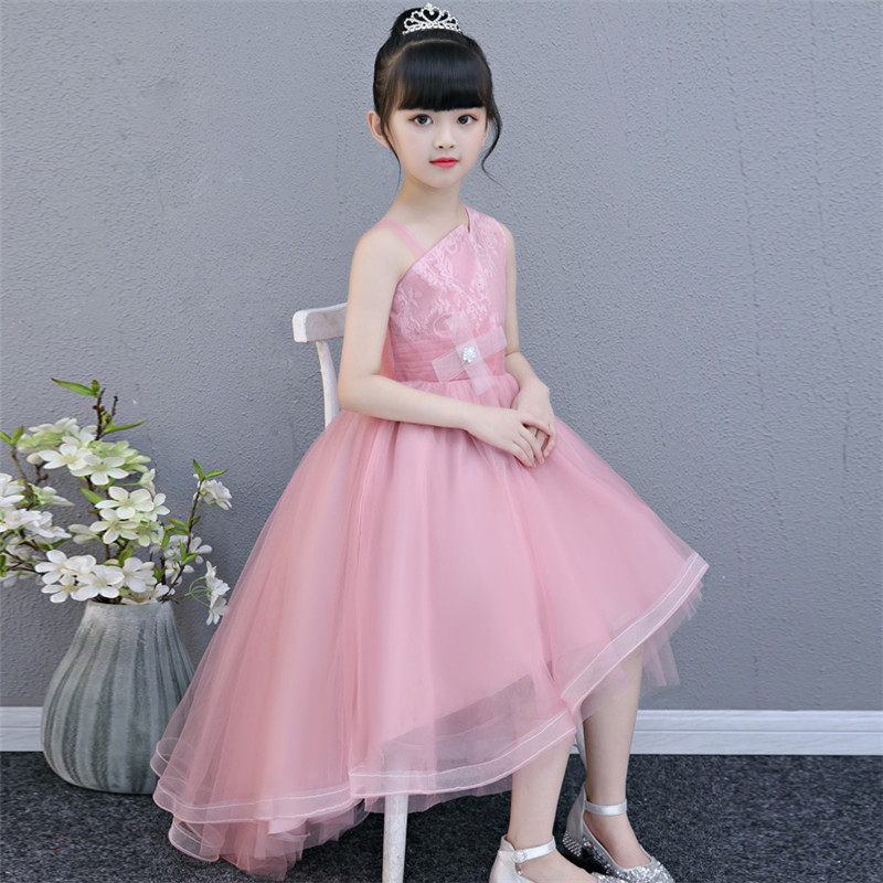 2018 Summer New Elegant Children Girls Pink Color Birthday Wedding Party Princess Lace Tail Dress Baby Infant Christmas Dress