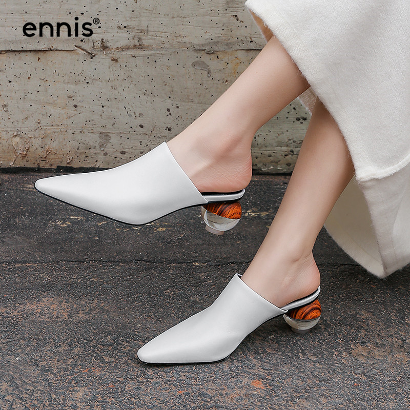 2019 High Heel Mules Women Pointed Toe Pumps Shoes Genuine Leather Slippers Spring White Black Ladies