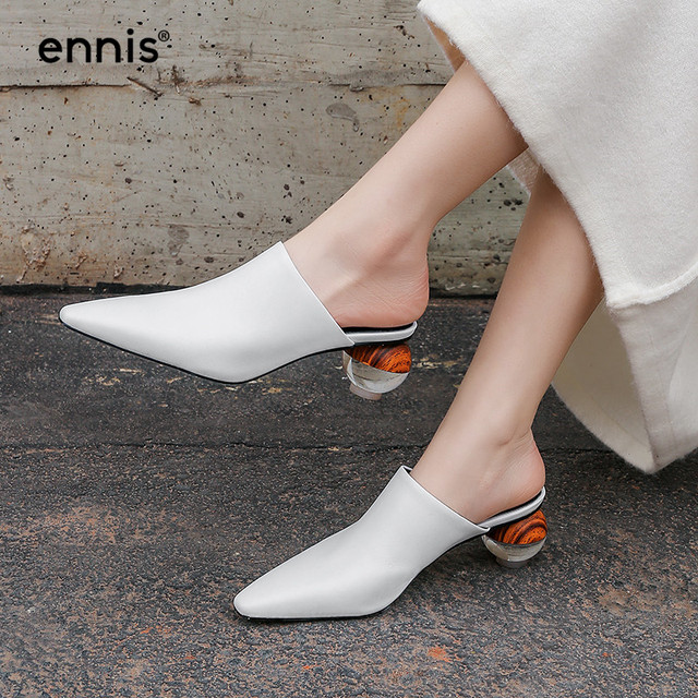 2019 High Heel Mules Women Pointed Toe Pumps Shoes Genuine Leather Slippers Spring White Black Ladies Casual Shoes Fashion M912