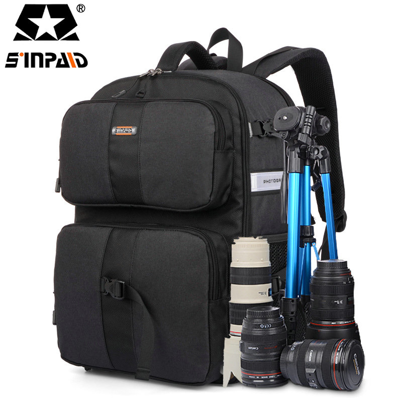 Sinpaid Video Photo Digital Camera Shoulders Padded Backpack Bag Case Waterproof Shockproof Small Bags for Canon Nikon DSLR-30 caden m5 camera bag backpack waterproof canvas gray photo video carry case digital camera case for dslr canon nikon