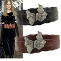 Vintage Silver Bow Belt Super Wide Pu Belts Europe and America Belts For Women