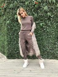 Модный комплект, 2019 шерсть, полный, Новый кашемировый Вязанный свитер, брюки, два предмета, тренировочные костюмы для женщин, два предмета, т...