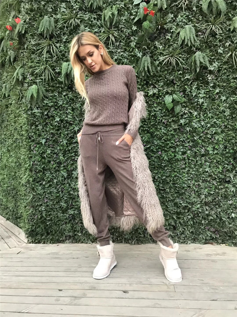 Fashion Set 2019 Wool Full New Cashmere Knitted Thread Sweater Trousers Two-piece Sweat Suits Women Two Piece Top And Pants