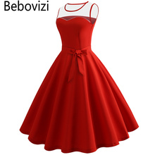 Bebovizi Pure Color Solid Red Yellow Blue Purple 2018 Summer Hepburn Vintage Dresses for Women Rockabilly Tunic Party Dress Sexy
