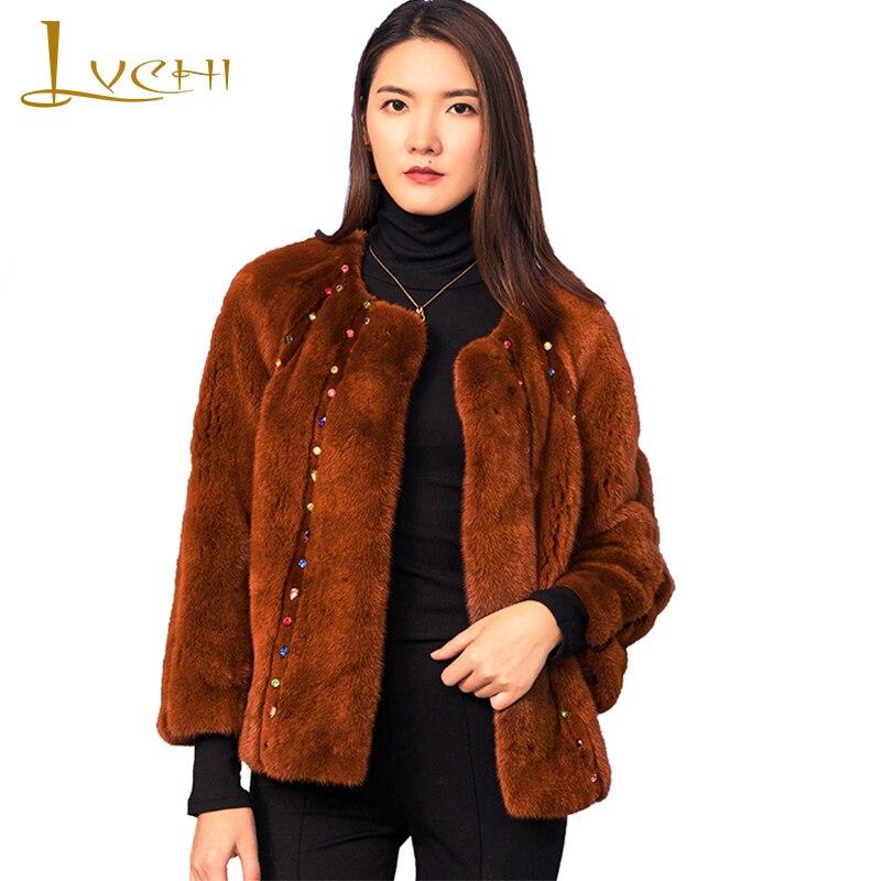 Caramel Camel Lvchi 2019 cou Perles Réel Manteaux Fourrure Pelt Femmes Couleur Complet Hiver O Causal Velours D'importation Manteau De Vison TT5Hrq6