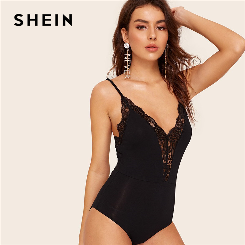 SHEIN Plunging Lace Insert Cami Black Bodysuit Ladies Summer V Neck Sexy Bodysuit Mid Waist Solid Sleeveless Women Bodysuit