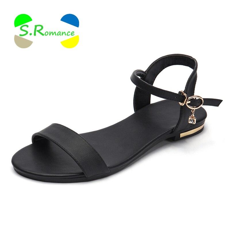 S. Romance/женские босоножки Пояса из натуральной кожи подошва из мягкого каучука одноцветное Туфли с ремешком и пряжкой Размеры 34–43 женские летние туфли SS168