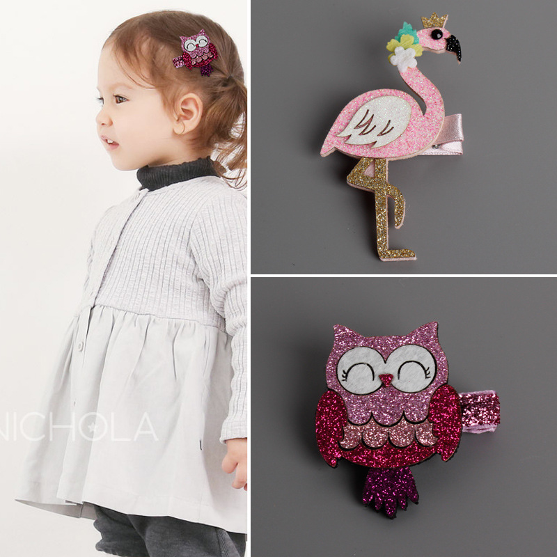 Fashion Cute Cartoon Flamingo And owl Baby Hairpins kids Hair Clips Children Headwear Princess Barrette Girls Hair Accessories baby cute style children accessories hairpins rabbit fur ear kids girls barrette lovely hair clip