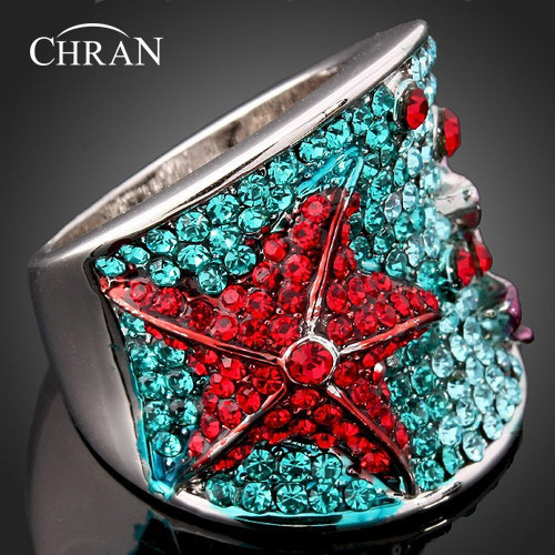 Chran Gold Color Crystal Blue And Red Stone Starfish Jewelry Women Wedding Rings Fashion Wedding Jewelry Gifts Accessories