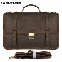 Vintage Men's Genuine Leather briefcase 14 Cowhide Business bag Cow leather Laptop Double Layer messenger bag PC work tote 2343