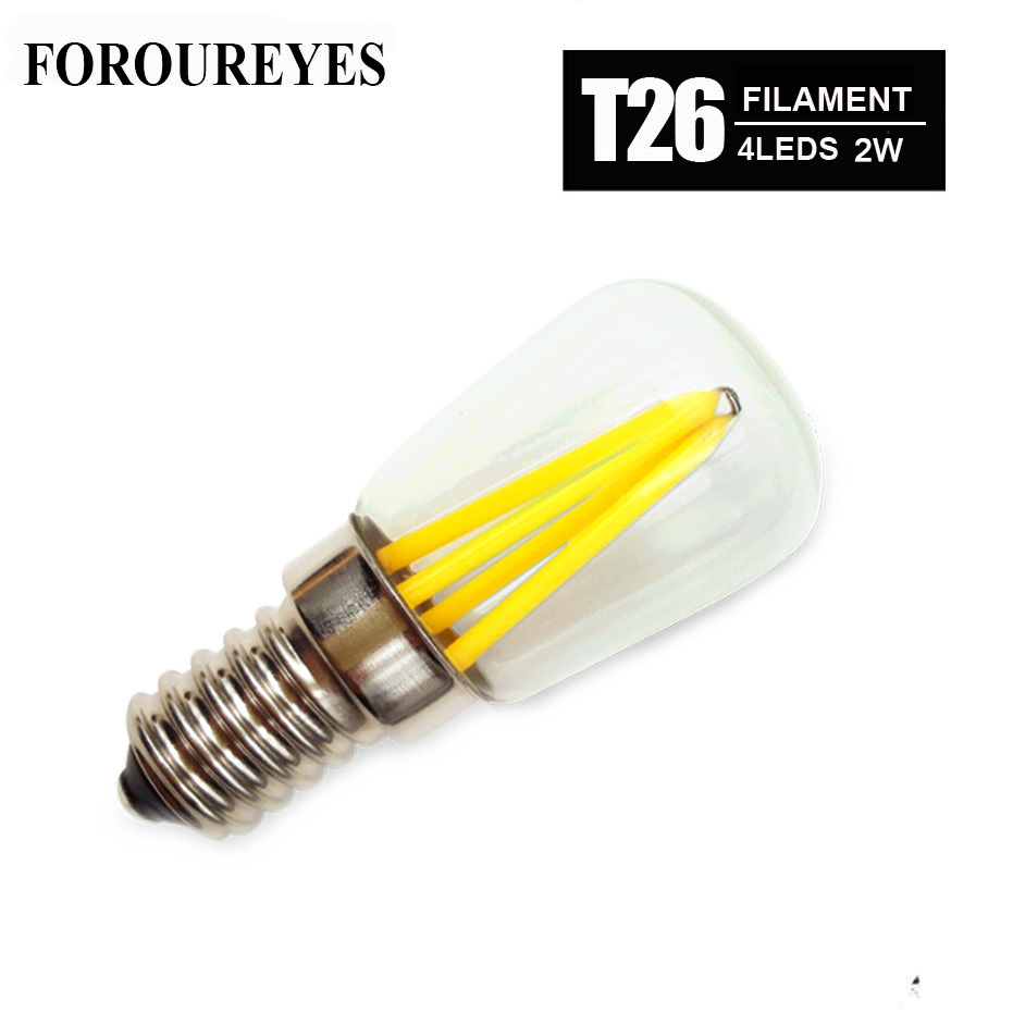 4pcs T26 E14 E12 LED Filament glass Bulbs Refrigerator Lamp 2W 110V 220V 360 Degree Retro lighting Chandeliers Bombillas