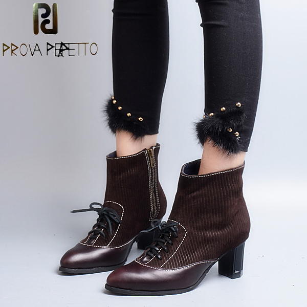 Prova Perfetto British Pointed Toe Women Ankle Boots Chunky High Heel Genuine Leather Patchwork Cross Tied Martin Boots Shoes prova perfetto brown women genuine leather high heel boot platform mid calf high boots buckle straps martin botas shoes woman