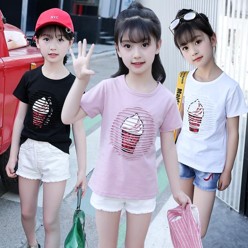 JMFFY Baby Girls Summer T Shirt Girl Cotton T-Shirt Kids Tee Tops 2018 Blouses O-Neck Children Clothing 6-15T Toddler Outwears