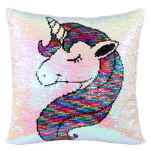 Icosy Home Decorative Unicorn Pillows for Sofa Double-sided Embroidery Cushion Covers Sequins Pillowcase 40X40CM DropShipping(China)