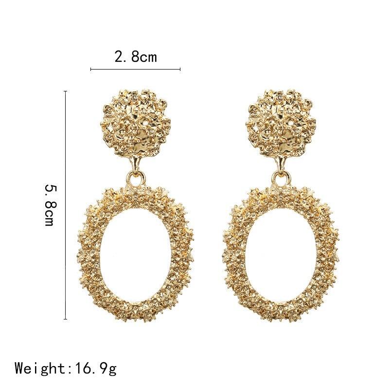 Big Vintage Earrings for Women Gold Silver Geometric Statement Earrings 19 Metal Earring Hanging Fashion Jewelry 4