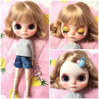 Blyth Doll Wavy Curly Hair wig for 1/6 Doll Scalp RBL Blonde hair Blyth Dolls Accessories DIY Scalp with wig BJD toy for Girl