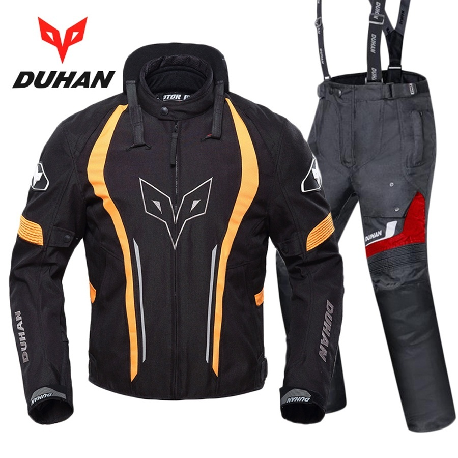 Free shipping 1set Motocross Jacket Motorbike Neckguard Windproof Warm Racing Body Armor Protective Motorcycle Jakcet and Pants