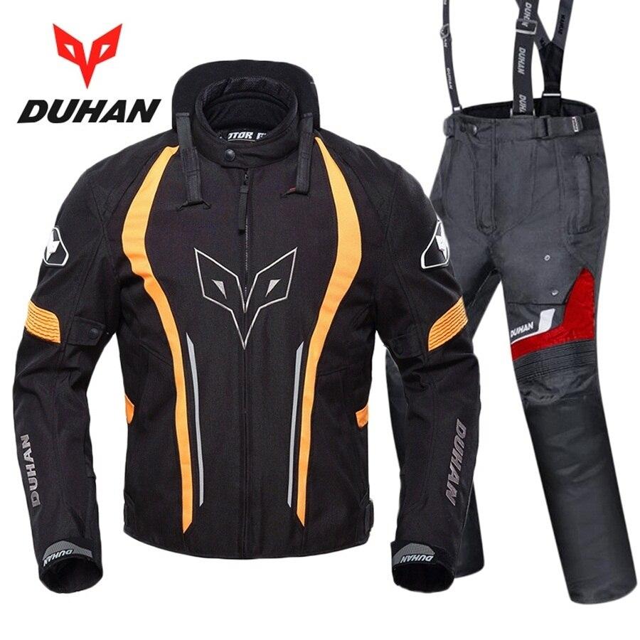 Livraison gratuite 1 set veste de Motocross moto tour de cou coupe-vent chaud course armure de protection moto Jakcet et pantalon