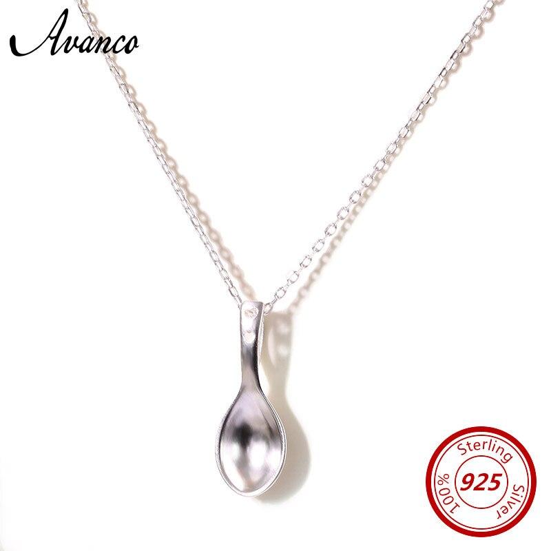 KüHn Avenco 925 Sterling Silber Halsketten Für Frauen 2019 Mode Damen Jäten Party Löffel Anhänger Halskette Schmuck