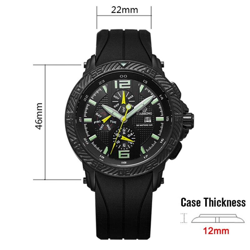 aa9e08b9e9b STARKING Homens relógio de Pulso Relogio masculino Multi Funcional Original  Quente Relógio Esportivo de Luxo Da Marca de Silicone Relógio De Quartzo  Preto ...