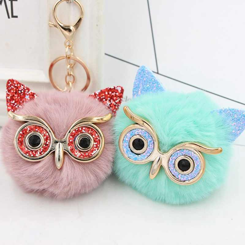 Cute Fashion Gold Dust Owl Fur Cony Hair Ball Big Eye Charm Car Keychain Handbag Key Ring Pendant
