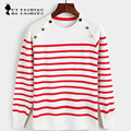 Hotsale Women Sweaters Pullovers Collar With Decorations Striped Long Sleeve Knitted Sweater Roupas Femininas C6D9251Y