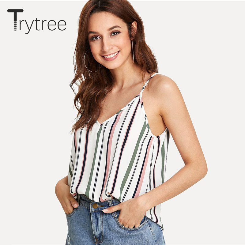 Trytree Double V Neck Striped Cami Top Women Spaghetti Strap Backless Clothing Vacation Top Vest 2018 Summer New Beach Boho Vest