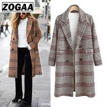 2019 Autumn Winter New Female Woolen Coat Europe American Loose Long Tartan Large Size