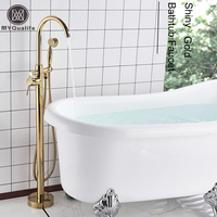 Brass Golden Bath Tub Faucet Floor Mounted Tub Filler Single Pole Swivel Spout Bathtub Mixer Tap Clawfoot Freestanding Tap