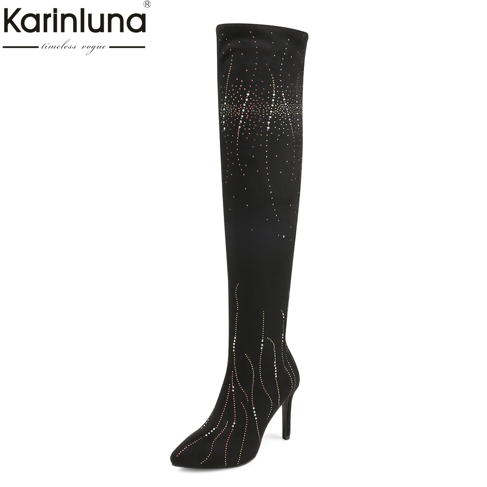 Karinluna 2018 Wholesale Sexy party women shoes boot Thin High Heels Women Boots Woman Shoes Over The Knee Boots Shoes Woman все цены