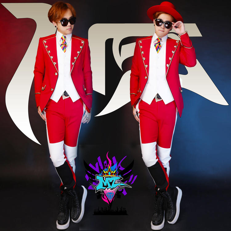 S-5XL New 2017 Men slim DJ 2PM JUN.K black and white red court costume LAPEL SUIT singer Suits male blazer stage costumes
