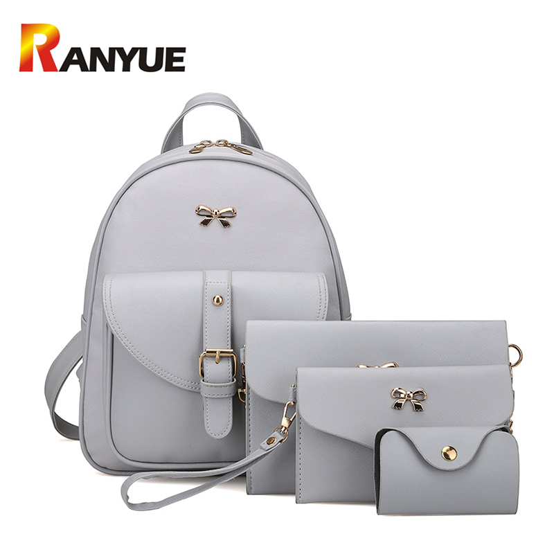 Fashion 4 Set Women Backpack PU Leather Chains Women Shoulder Bag Ladies Backpack For Teenager Girls Schoolbag Black Card Bags fashion vintage women s handbags quality pu leather crossbody bags for teenager girls chains shoulder bag desinger clutch bags